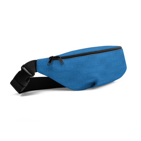 YHM Designs  •  World Airport Codes Fanny Pack • Blue 1