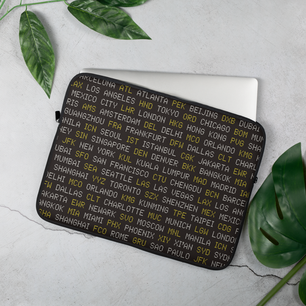 YHM Designs - World Airport Codes Laptop Sleeve • Black, White and Yellow 4
