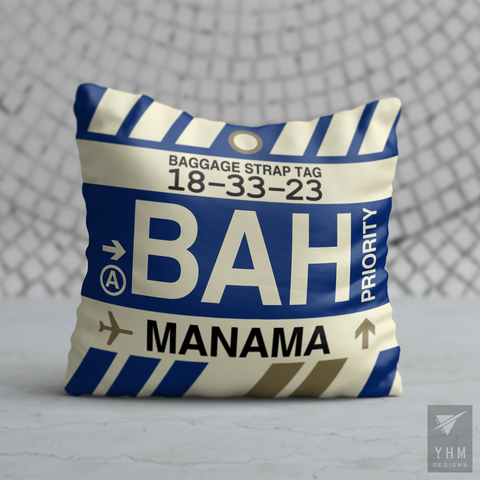 YHM Designs - BAH Manama Airport Code Throw Pillow - Housewarming Gift, Birthday Gift, Teacher Gift, Thank You Gift