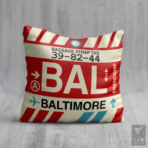 YHM Designs - BAL Baltimore Airport Code Throw Pillow - Housewarming Gift, Birthday Gift, Teacher Gift, Thank You Gift