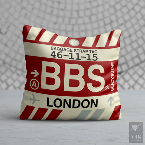 YHM Designs - BBS London Airport Code Throw Pillow - Housewarming Gift, Birthday Gift, Teacher Gift, Thank You Gift