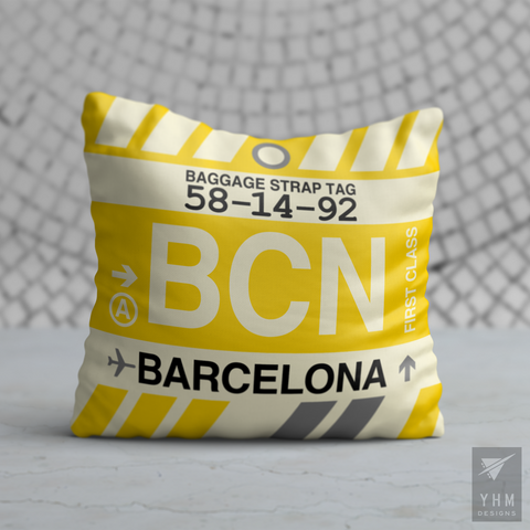YHM Designs - BCN Barcelona Airport Code Throw Pillow - Housewarming Gift, Birthday Gift, Teacher Gift, Thank You Gift
