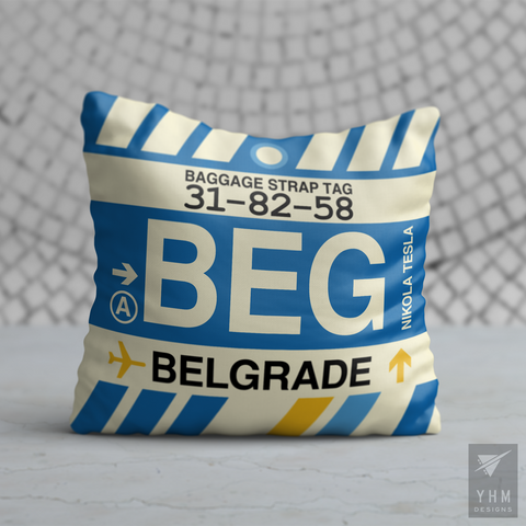 YHM Designs - BEG Belgrade Airport Code Throw Pillow - Housewarming Gift, Birthday Gift, Teacher Gift, Thank You Gift