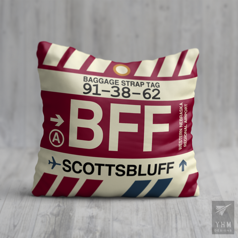 YHM Designs - BFF Scottsbluff Airport Code Throw Pillow - Housewarming Gift, Birthday Gift, Teacher Gift, Thank You Gift
