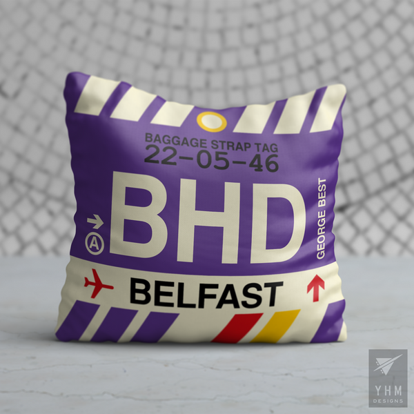 YHM Designs - BHD Belfast Airport Code Throw Pillow - Housewarming Gift, Birthday Gift, Teacher Gift, Thank You Gift