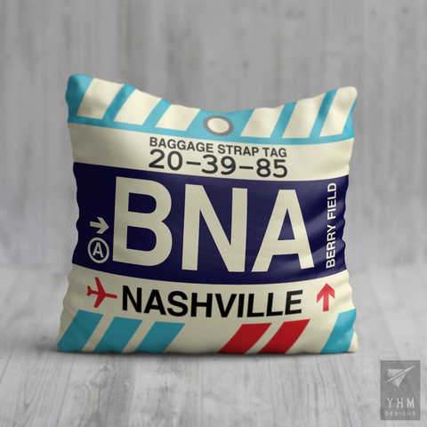 YHM Designs - BNA Nashville Airport Code Throw Pillow - Housewarming Gift, Birthday Gift, Teacher Gift, Thank You Gift