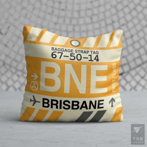 YHM Designs - BNE Brisbane Airport Code Throw Pillow - Housewarming Gift, Birthday Gift, Teacher Gift, Thank You Gift