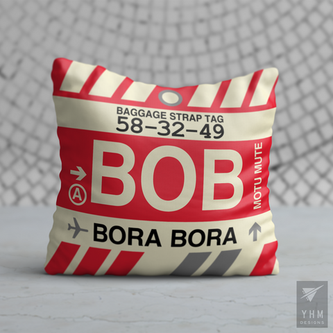 YHM Designs - BOB Bora Bora Airport Code Throw Pillow - Housewarming Gift, Birthday Gift, Teacher Gift, Thank You Gift