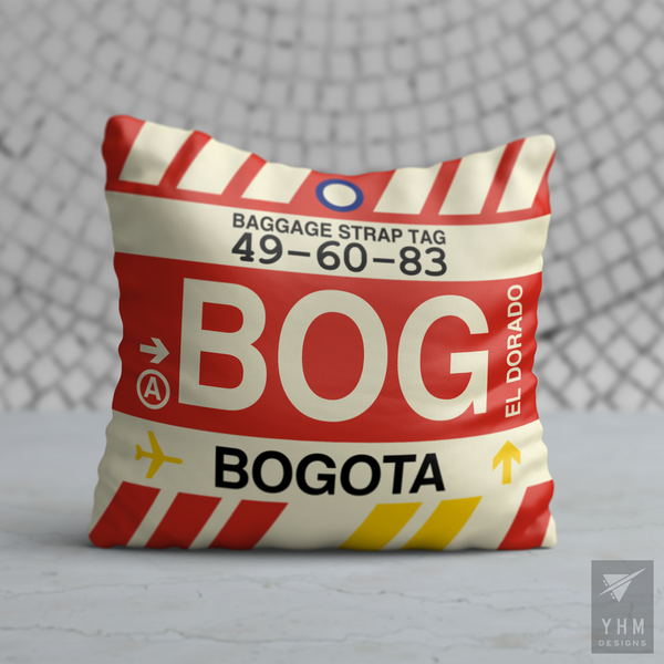 YHM Designs - BOG Bogota Airport Code Throw Pillow - Housewarming Gift, Birthday Gift, Teacher Gift, Thank You Gift
