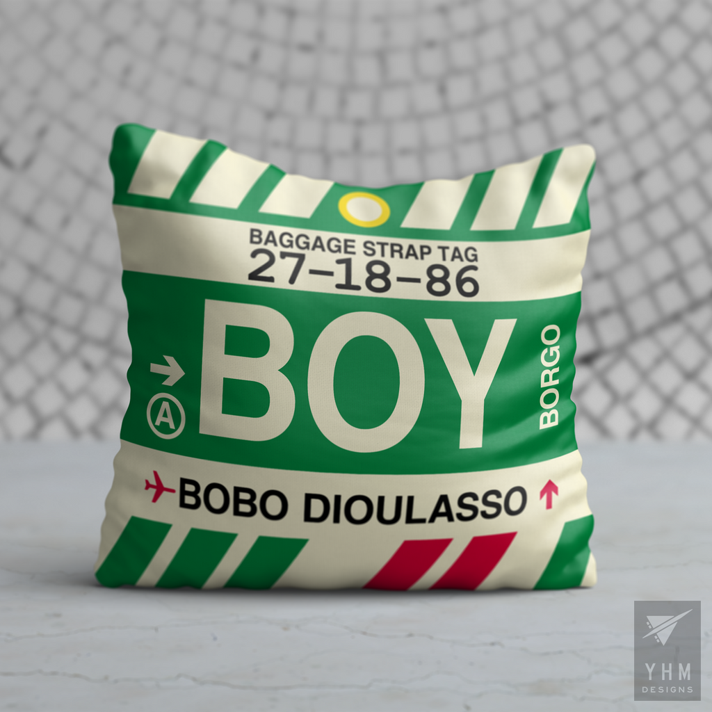 YHM Designs - BOY Bobo Dioulasso Airport Code Throw Pillow - Housewarming Gift, Birthday Gift, Teacher Gift, Thank You Gift