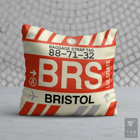 YHM Designs - BRS Bristol Airport Code Throw Pillow - Housewarming Gift, Birthday Gift, Teacher Gift, Thank You Gift