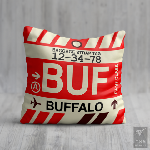 YHM Designs - BUF Buffalo Airport Code Throw Pillow - Housewarming Gift, Birthday Gift, Teacher Gift, Thank You Gift