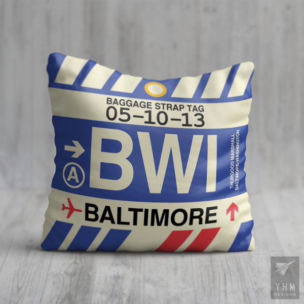 YHM Designs - BWI Baltimore-Washington Airport Code Throw Pillow - Housewarming Gift, Birthday Gift, Teacher Gift, Thank You Gift