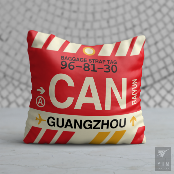 YHM Designs - CAN Guangzhou Airport Code Throw Pillow - Housewarming Gift, Birthday Gift, Teacher Gift, Thank You Gift