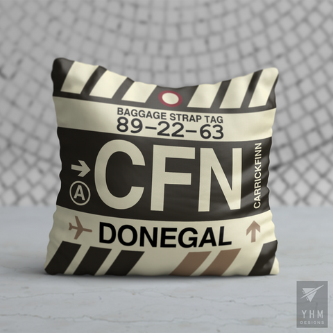 YHM Designs - CFN Donegal Airport Code Throw Pillow - Housewarming Gift, Birthday Gift, Teacher Gift, Thank You Gift
