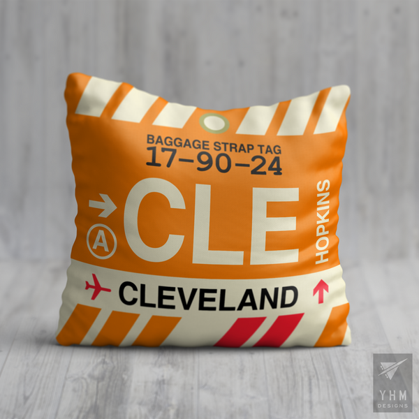YHM Designs - CLE Cleveland Airport Code Throw Pillow - Housewarming Gift, Birthday Gift, Teacher Gift, Thank You Gift
