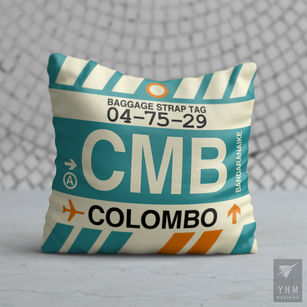 YHM Designs - CMB Colombo Airport Code Throw Pillow - Housewarming Gift, Birthday Gift, Teacher Gift, Thank You Gift