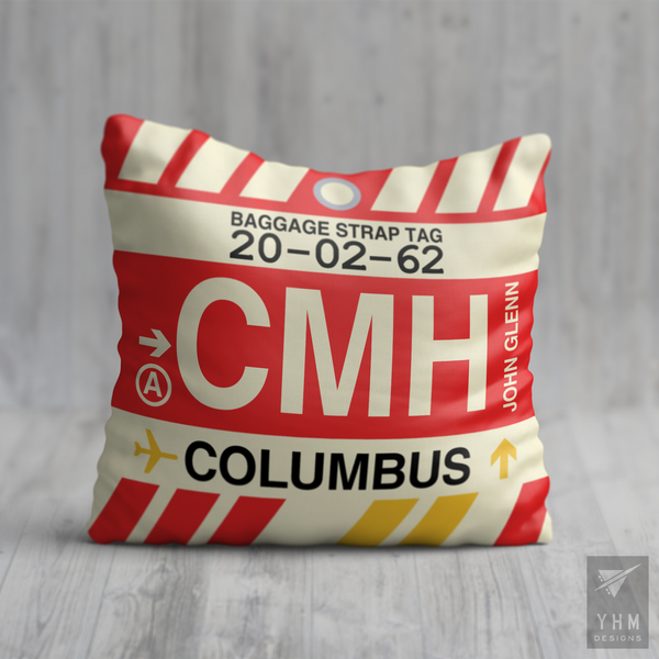 YHM Designs - CMH Columbus Airport Code Throw Pillow - Housewarming Gift, Birthday Gift, Teacher Gift, Thank You Gift