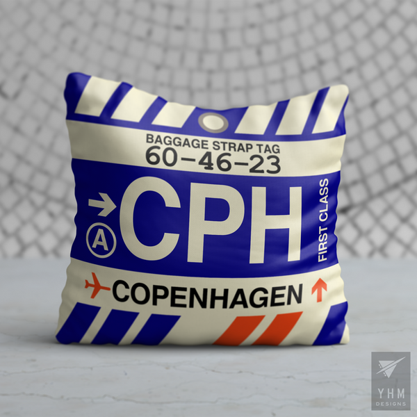 YHM Designs - CPH Copenhagen Airport Code Throw Pillow - Housewarming Gift, Birthday Gift, Teacher Gift, Thank You Gift