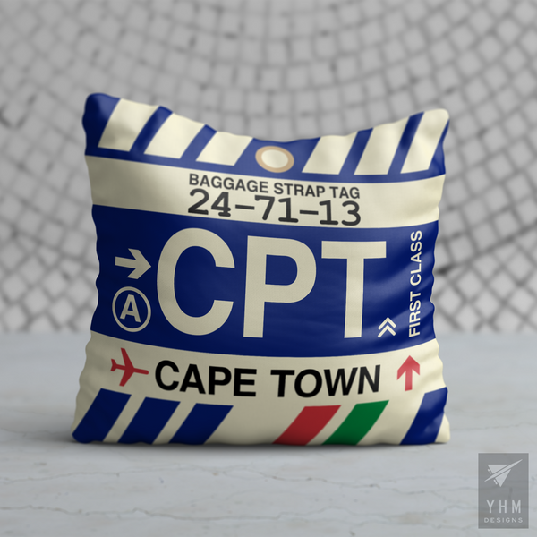 YHM Designs - CPT Cape Town Airport Code Throw Pillow - Housewarming Gift, Birthday Gift, Teacher Gift, Thank You Gift
