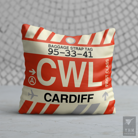 YHM Designs - CWL Cardiff Airport Code Throw Pillow - Housewarming Gift, Birthday Gift, Teacher Gift, Thank You Gift