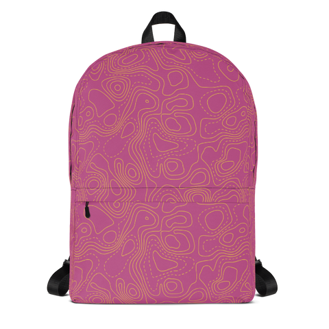 "YHM Designs  •  Contour Map Design 15.6"" Laptop Backpack • Fuchsia 1"