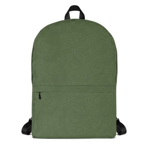 "YHM Designs  •  Contour Map Design 15.6"" Laptop Backpack • Mid-Green 1"