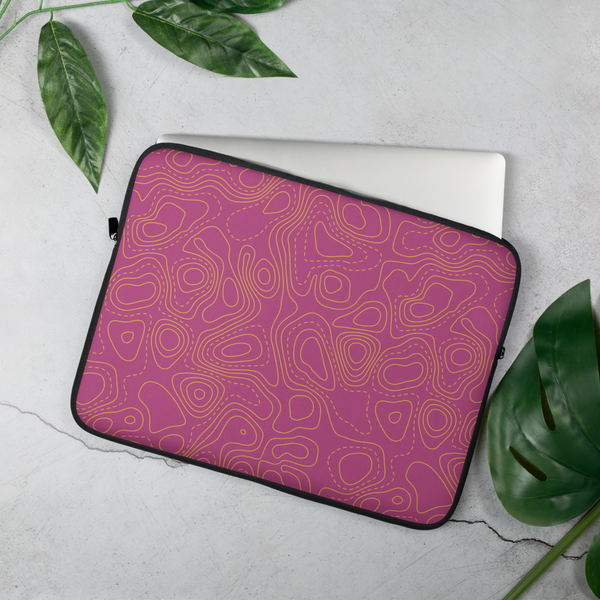 YHM Designs - Contour Map Laptop Sleeve • Fuchsia 4