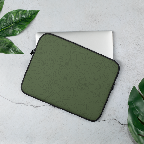 YHM Designs - Contour Map Laptop Sleeve • Mid-Green 2