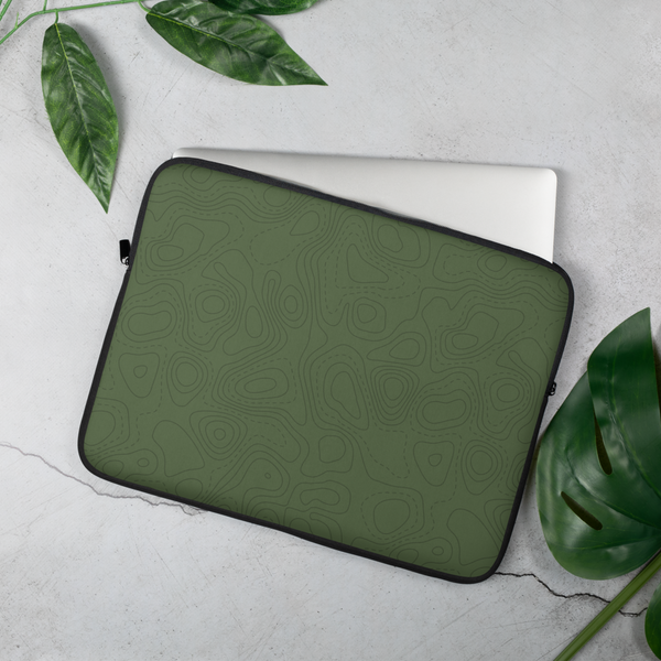 YHM Designs - Contour Map Laptop Sleeve • Mid-Green 4