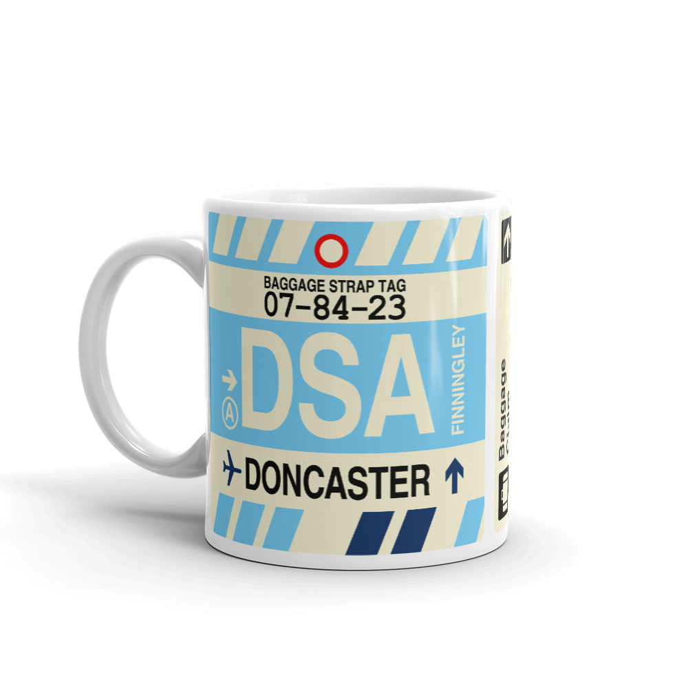 YHM Designs - DSA Doncaster Airport Code Coffee Mug - Travel Theme Drinkware and Gift Ideas - Left