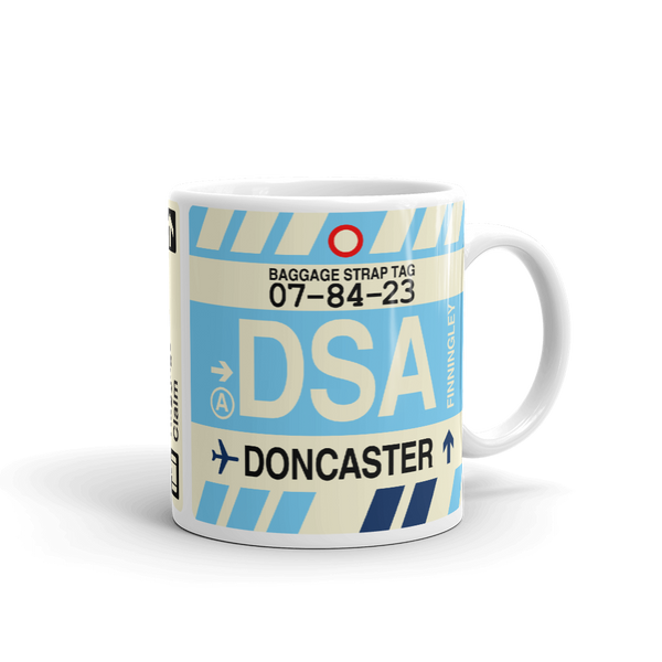 YHM Designs - DSA Doncaster Airport Code Coffee Mug - Travel Theme Drinkware and Gift Ideas - Right