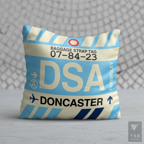YHM Designs - DSA Doncaster Airport Code Throw Pillow - Housewarming Gift, Birthday Gift, Teacher Gift, Thank You Gift