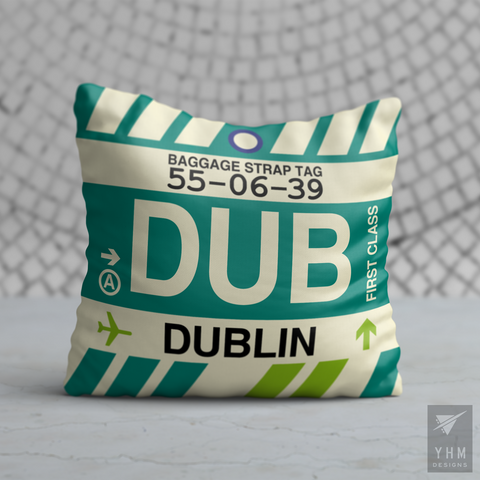 YHM Designs - DUB Dublin Airport Code Throw Pillow - Housewarming Gift, Birthday Gift, Teacher Gift, Thank You Gift