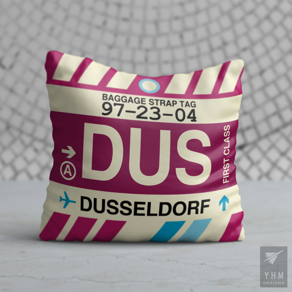YHM Designs - DUS Dusseldorf Airport Code Throw Pillow - Housewarming Gift, Birthday Gift, Teacher Gift, Thank You Gift