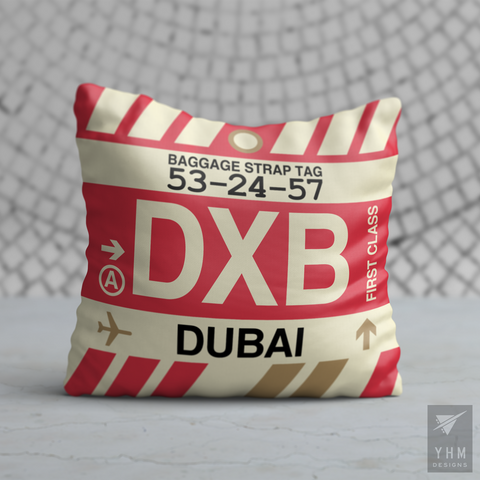 YHM Designs - DXB Dubai Airport Code Throw Pillow - Housewarming Gift, Birthday Gift, Teacher Gift, Thank You Gift