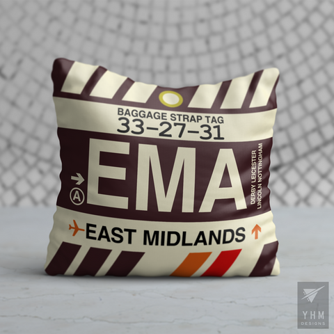 YHM Designs - EMA East Midlands Airport Code Throw Pillow - Housewarming Gift, Birthday Gift, Teacher Gift, Thank You Gift