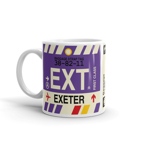 EXT Exeter Coffee Mug • Airport Code & Vintage Baggage Tag Design