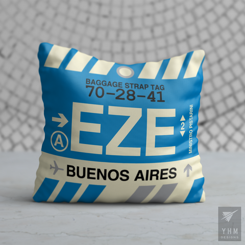 YHM Designs - EZE Buenos Aires Airport Code Throw Pillow - Housewarming Gift, Birthday Gift, Teacher Gift, Thank You Gift