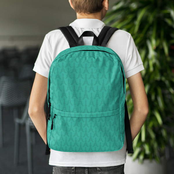 "YHM Designs  •  Eiffel Tower Pattern 15.6"" Laptop Backpack • Turquoise 8"