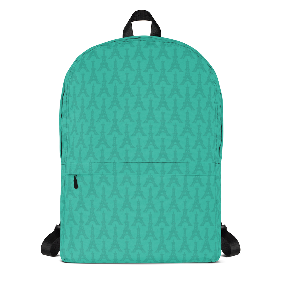 "YHM Designs  •  Eiffel Tower Pattern 15.6"" Laptop Backpack • Turquoise 1"