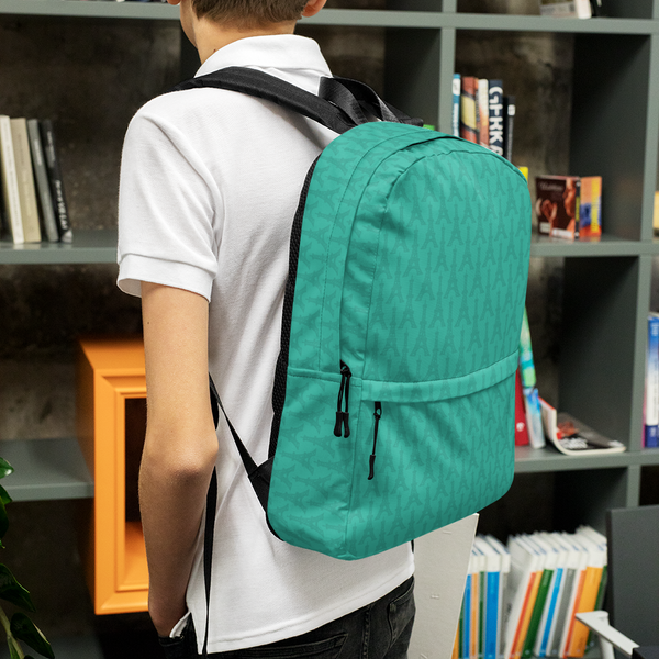 "YHM Designs  •  Eiffel Tower Pattern 15.6"" Laptop Backpack • Turquoise 9"