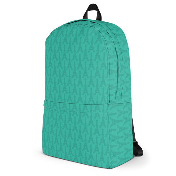 "YHM Designs  •  Eiffel Tower Pattern 15.6"" Laptop Backpack • Turquoise 3"