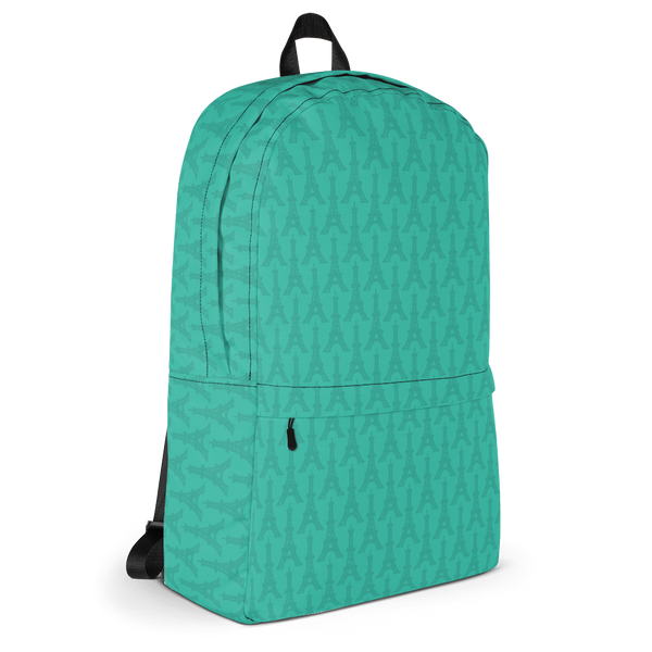 "YHM Designs  •  Eiffel Tower Pattern 15.6"" Laptop Backpack • Turquoise 2"