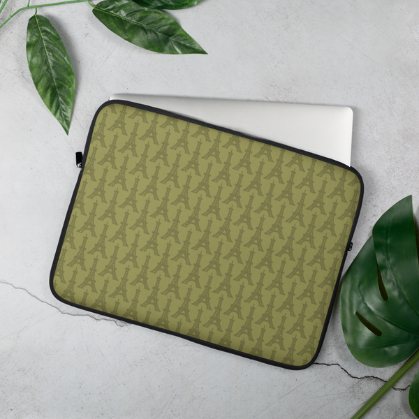 YHM Designs - Eiffel Tower Laptop Sleeve • Light Moss Green 4