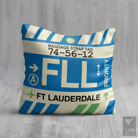 YHM Designs - FLL Fort Lauderdale Airport Code Throw Pillow - Housewarming Gift, Birthday Gift, Teacher Gift, Thank You Gift
