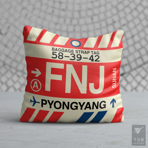 YHM Designs - FNJ Pyongyang Airport Code Throw Pillow - Housewarming Gift, Birthday Gift, Teacher Gift, Thank You Gift