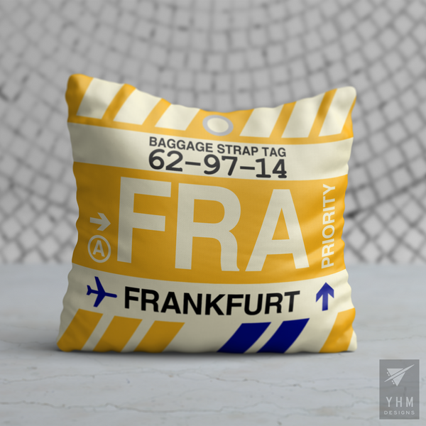 YHM Designs - FRA Frankfurt Airport Code Throw Pillow - Housewarming Gift, Birthday Gift, Teacher Gift, Thank You Gift