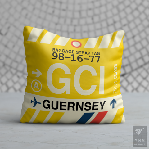 YHM Designs - GCI Guernsey Airport Code Throw Pillow - Housewarming Gift, Birthday Gift, Teacher Gift, Thank You Gift