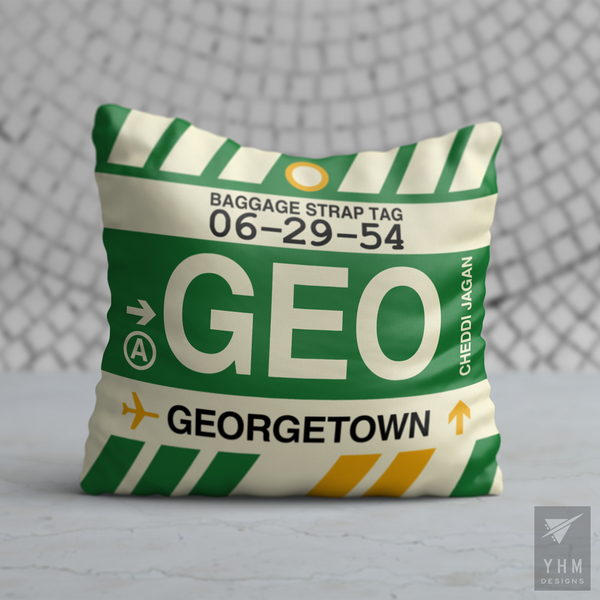 YHM Designs - GEO Georgetown Airport Code Throw Pillow - Housewarming Gift, Birthday Gift, Teacher Gift, Thank You Gift